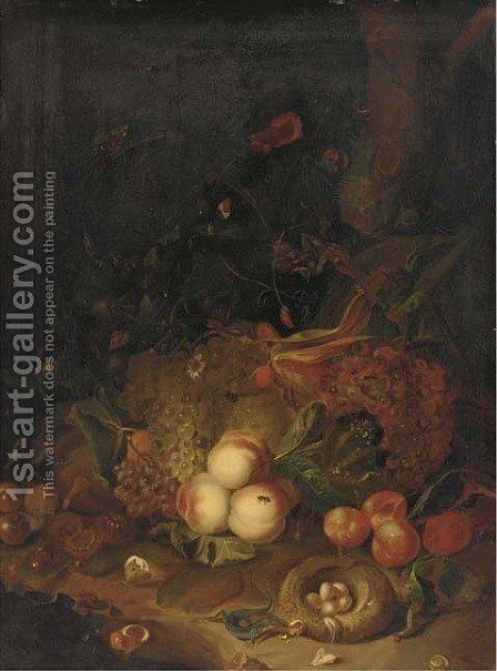 Apples, pears, grapes, corn, pomegranates, a birds nest with eggs with butterflies, a lizard and other insects in a wooded clearing by (after) Rachel Ruysch - Reproduction Oil Painting