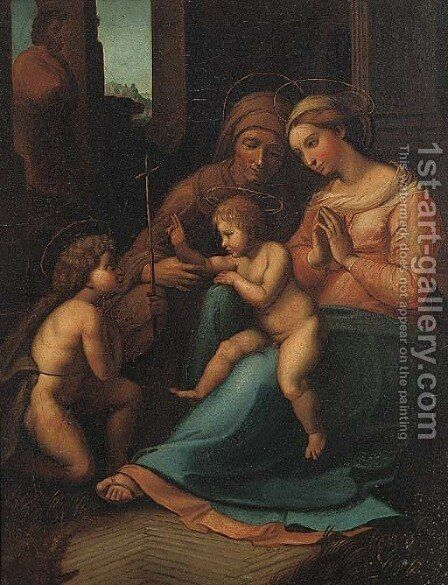 The Madonna and Child with the Infant Saint John the Baptist and Saint Anne by Correggio (Antonio Allegri) - Reproduction Oil Painting