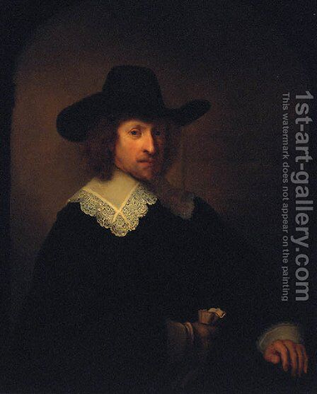 Portrait of Nicolaes van Bambeeck, half-length by Rembrandt - Reproduction Oil Painting