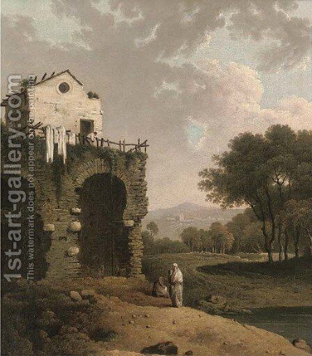 View in the ruins of Hadrian's Villa near Tivoli by (after) Richard Wilson - Reproduction Oil Painting