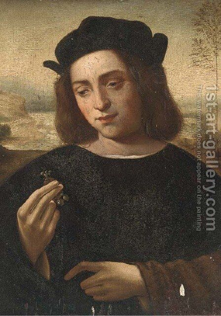 Portrait of a man, half-length, holding a piece of jewellery, a landscape beyond by (after) Ridolfo Ghirlandaio - Reproduction Oil Painting