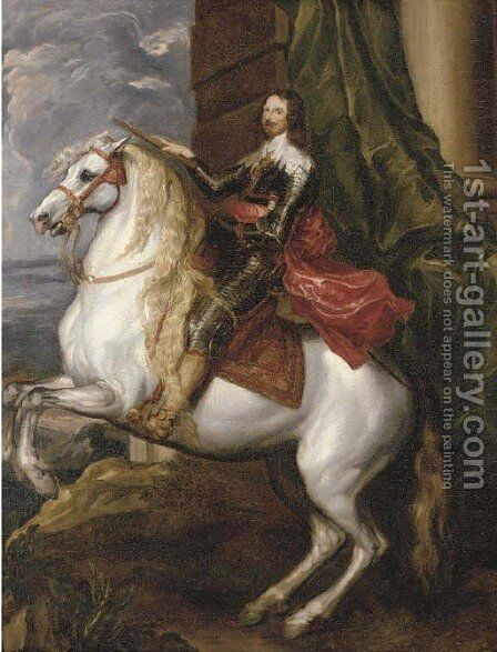 Charles I on horseback by Sir Anthony Van Dyck - Reproduction Oil Painting