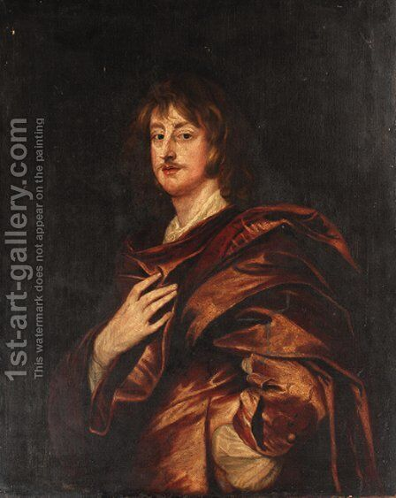 Portrait of Philip, 5th Earl of Pembroke, half-length, in a red cloak by Sir Anthony Van Dyck - Reproduction Oil Painting
