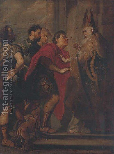 The Emperor Theodosius refused admission to the Church by Sir Anthony Van Dyck - Reproduction Oil Painting