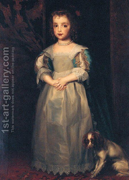 Portrait of Princess Mary, full-length, in a blue and white dress and pearl necklace, a King Charles spaniel at her feet by Sir Anthony Van Dyck - Reproduction Oil Painting
