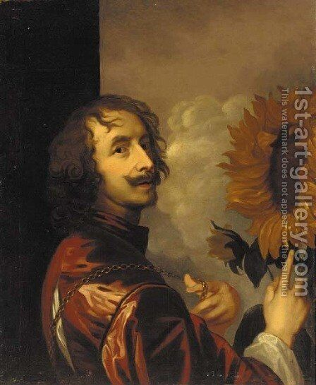 Self-portrait with a sunflower by Sir Anthony Van Dyck - Reproduction Oil Painting