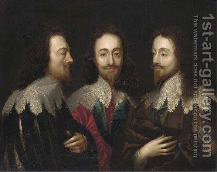 Triple portrait of Charles I by Sir Anthony Van Dyck - Reproduction Oil Painting