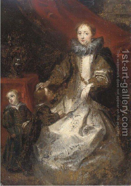 Portrait of La Marchesa Caterina Durazzo and her two sons by Sir Anthony Van Dyck - Reproduction Oil Painting