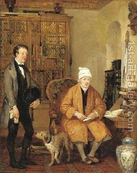 The letter of introduction by (after) Sir David Wilkie - Reproduction Oil Painting