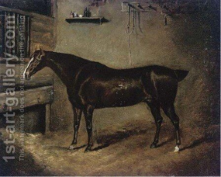 A favourite hunter by (after) Sir Edwin Henry Landseer - Reproduction Oil Painting