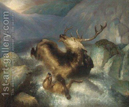 Deer and deerhounds in a mountain torrent by (after) Landseer, Sir Edwin - Reproduction Oil Painting