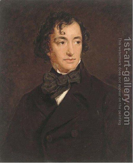 Portrait of Benjamin Disraeli (1804-1881), Earl of Beaconsfield,  quarter-length, in a black jacket by (after) Sir Francis Grant - Reproduction Oil Painting