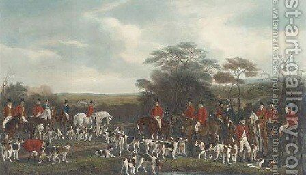 Sir Richard Sutton and the Quorn Hounds (Siltzer 130), by F. Bromley by (after) Sir Francis Grant - Reproduction Oil Painting