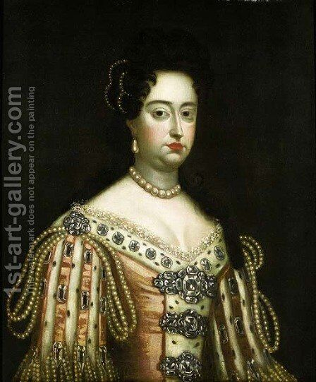 Portrait of Queen Mary II, half length, wearing an ermine-lin by Sir Godfrey Kneller - Reproduction Oil Painting