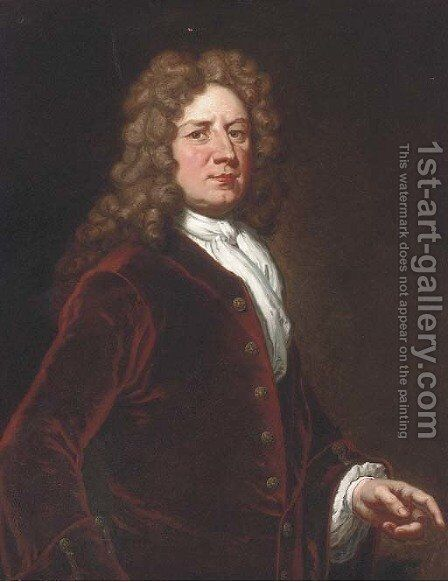 Portrait of Thomas, 1st Marquis of Wharton (1648-1723), three-quarter- length, in a red velvet coat and white shirt by Sir Godfrey Kneller - Reproduction Oil Painting