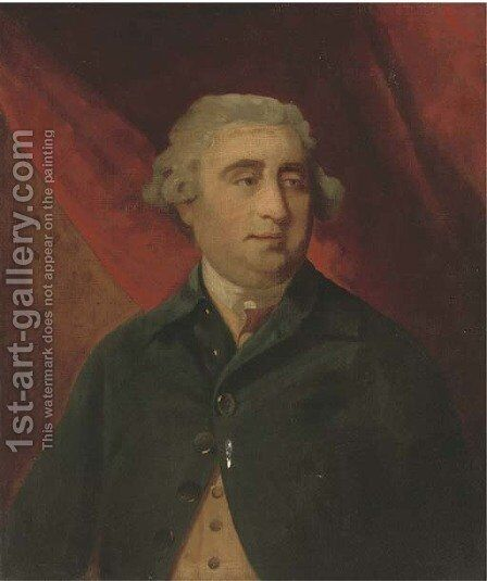 Portrait of Charles James Fox, M.P. (1749-1806), half-length, wearing a blue coat and yellow waistcoat, a red curtain beyond by (after) Sir Joshua Reynolds - Reproduction Oil Painting
