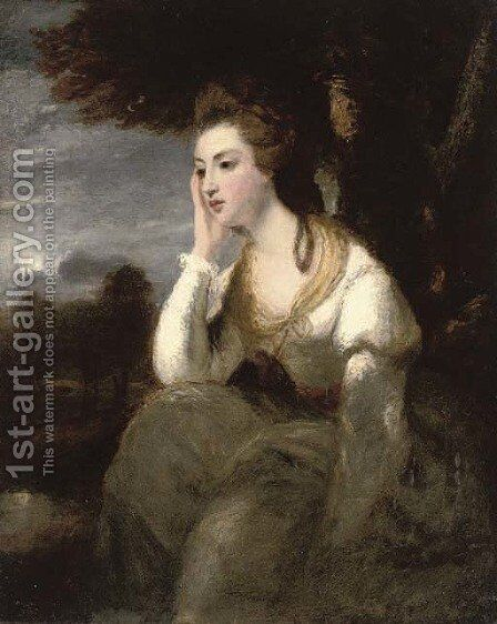 Portrait of the Hon. Mrs Stanhope, seated three-quarter-length, in a white dress, an extensive moonlit landscape beyond by (after) Sir Joshua Reynolds - Reproduction Oil Painting