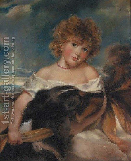 A Portrait of the Honourable Leicester Fitzroy Stanhope by (after) Sir Joshua Reynolds - Reproduction Oil Painting