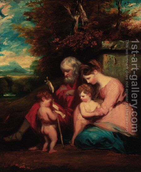 The Holy Family with the Infant Saint John the Baptist by (after) Sir Joshua Reynolds - Reproduction Oil Painting