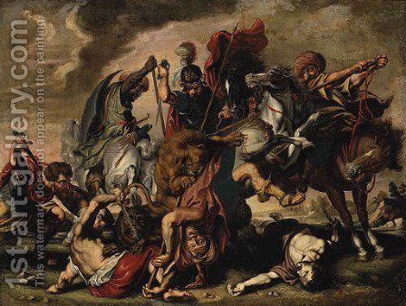 A Lion Hunt by (after) Sir Peter Paul Rubens - Reproduction Oil Painting