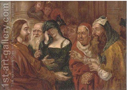 Christ and the woman taken in adultery by (after) Sir Peter Paul Rubens - Reproduction Oil Painting