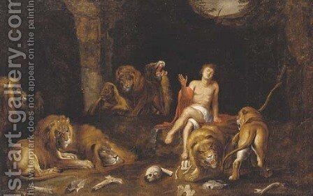 Daniel in the lion's den by (after) Sir Peter Paul Rubens - Reproduction Oil Painting