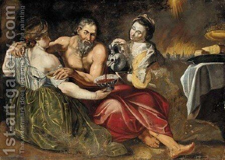 Lot and his Daughters by (after) Sir Peter Paul Rubens - Reproduction Oil Painting