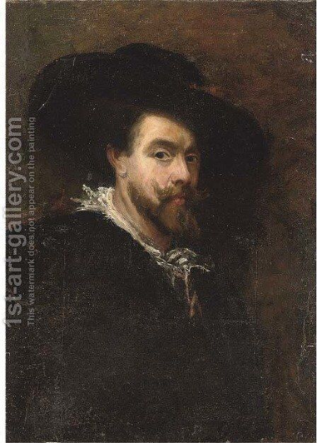 Portrait of the artist, half-length, wearing a black hat by (after) Sir Peter Paul Rubens - Reproduction Oil Painting