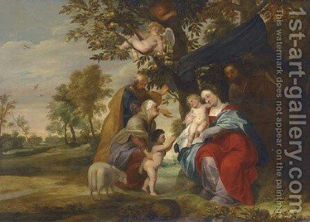 The Holy Family under an Apple Tree with Saints Elizabeth and Zacharaias and the Infant Baptist by (after) Sir Peter Paul Rubens - Reproduction Oil Painting