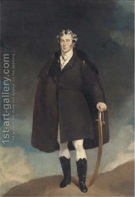 Arthur Wellesley, 1st Duke of Wellington, small full-length, in a cloak by (after) Lawrence, Sir Thomas - Reproduction Oil Painting