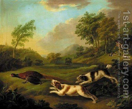 A huntsman with spaniels chasing a pheasant by (after) Stephen Elmer - Reproduction Oil Painting