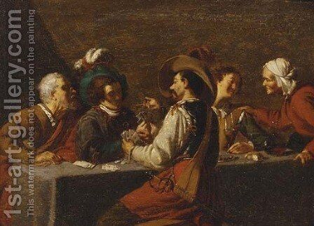A soldier and others playing cards and drinking in a tavern interior by (after) Theodoor Rombouts - Reproduction Oil Painting