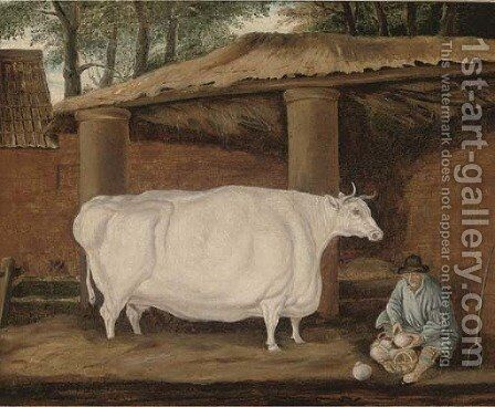 A cow and a farmer by a barn by (after) Thomas Weaver - Reproduction Oil Painting