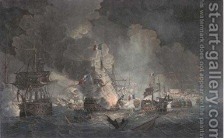 Battle of the Nile, representing the situation of the two Fleets, previous to the blowing up of the L'Orient on the night of August 1, 1798, by Hellye by (after) Thomas Whitcombe - Reproduction Oil Painting
