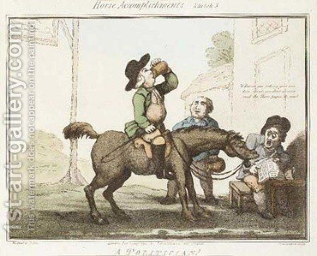 Horse Accomplishments, by Thomas Rowlandson by (after) Thomas Woodward - Reproduction Oil Painting