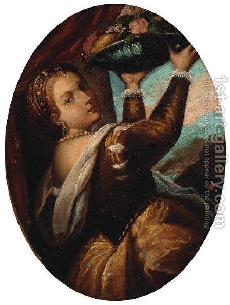 A girl with a basket of fruit by Tiziano Vecellio (Titian) - Reproduction Oil Painting