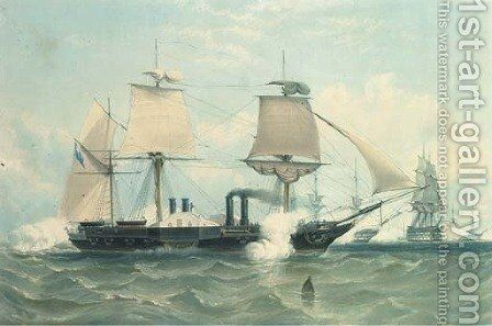 H.M. war steam frigate the Terrible, of 1847 tons, and 800 horse power, by H. Papprill by (after) Knell, W. - Reproduction Oil Painting