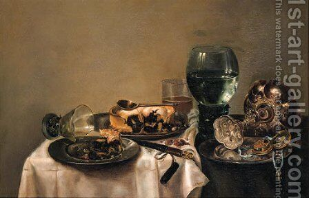 Still Life With Two Pies, A Spoon, A Fob Watch And An Upturned Tazza On Pewter Plates, A Broken Upturned Berkemeyer, A Roemer, A Beerglass, A Knife by (after) Willem Claesz. Heda - Reproduction Oil Painting