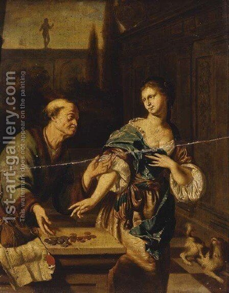 Unequal love by (after) Willem Van Mieris - Reproduction Oil Painting