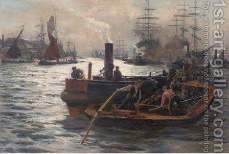 'Toil, glitter, grime and wealth on a flowing tide' by (after) William Lionel Wyllie - Reproduction Oil Painting