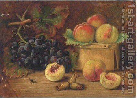 Peaches and grapes by Agnes Louise Holding - Reproduction Oil Painting