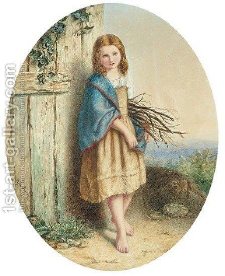 The young faggot gatherer by Agnes Rose Bouvier - Reproduction Oil Painting