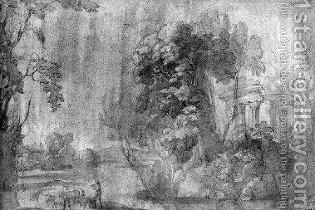 A classical Landscape with the Temple of Vesta, and a shepherd with his herd by Agostino Tassi - Reproduction Oil Painting