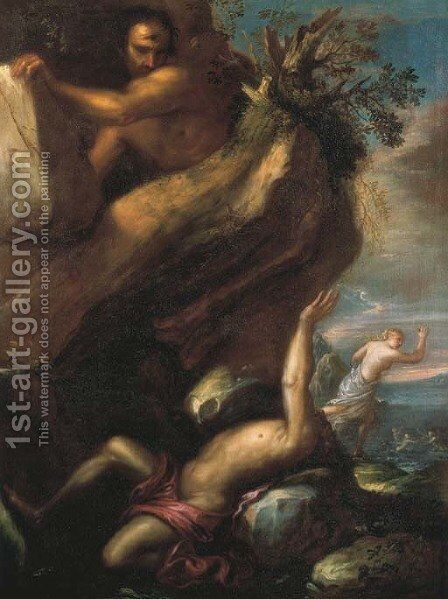 Polyphemus and Galatea by Agostino Santagostino - Reproduction Oil Painting