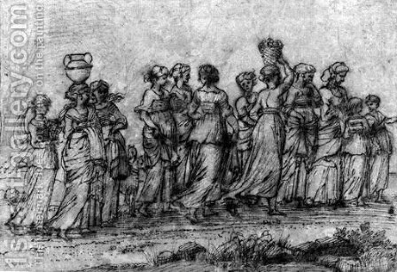 A group of women returning from the well by Agostino Tassi - Reproduction Oil Painting