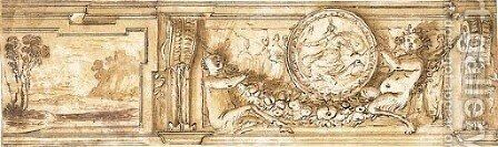 A study for a frieze decorated with a landscape and young satyrs holding a garland and supporting a medallion depicting Diana by Agostino Tassi - Reproduction Oil Painting