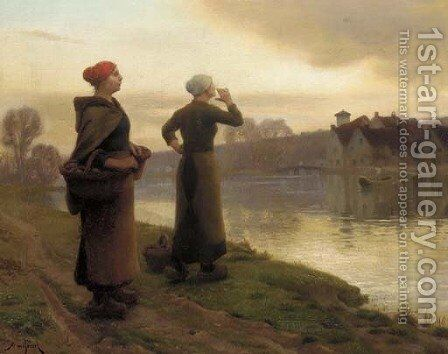 Waiting for the Ferry by Aime Perret - Reproduction Oil Painting