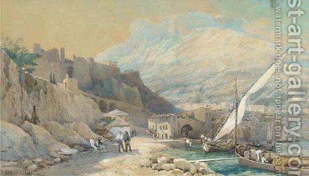 Loading xebecs in a Mediterranean port by Ainslie H. Bean - Reproduction Oil Painting