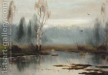 Silver Birches by the Marshes by Albert Nikolaivich Benua - Reproduction Oil Painting