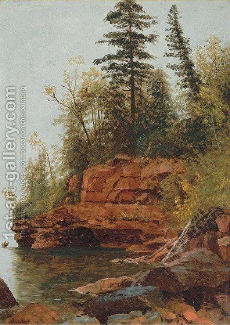 A Rocky Cove by Albert Bierstadt - Reproduction Oil Painting